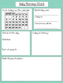 Daily Work Worksheets