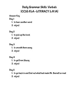 Daily Work for Gerund Phrases CCSS.ELA.Literacy.L.8.1.A