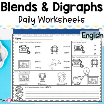 Daily Worksheets- Digraphs and Blends