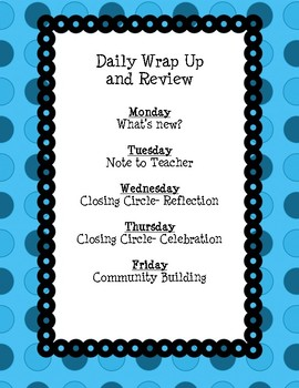 Daily Wrap Up and Review
