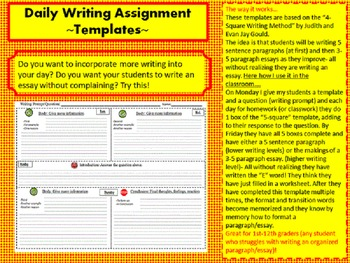 Daily Writing Assignment       ~Templates~