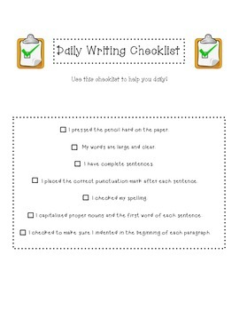 Daily Writing Checklists