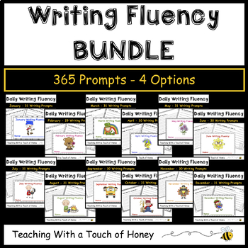 Daily Writing Fluency Prompts BUNDLE - 365 Sentence Starters For the ENTIRE YEAR