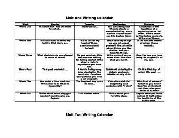 Daily Writing Homework Calendar