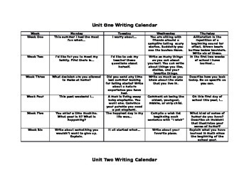 Daily Writing Homework Calendar
