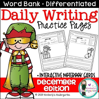 Daily Writing Journal Pages for Beginning Writers: December Edition. K or 1st.