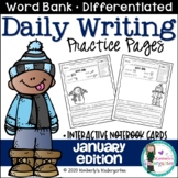 Daily Writing Journal Pages for Beginning Writers: January Edition. K or 1st.