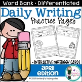 Daily Writing Journal Pages for Beginning Writers: April Edition. K or 1st.
