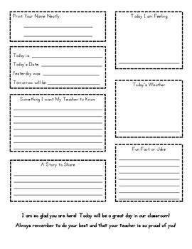 Daily Writing Morning Work or Work on Writing Sheet
