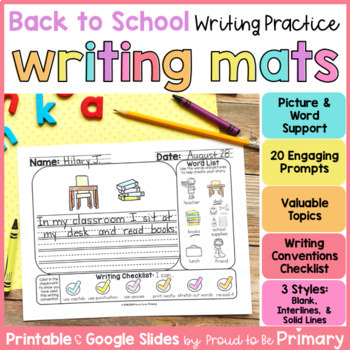 Back to School Writing Paper and Prompts