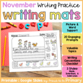 Writing Prompts Center Activities - November | Digital & P