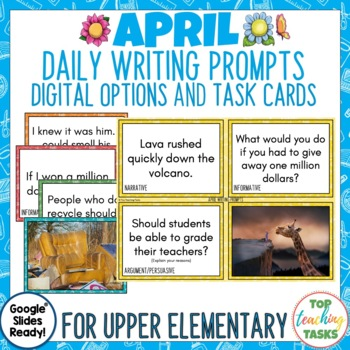 Daily Writing Prompts April - PowerPoint/Journal/Worksheets