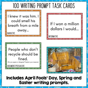Daily Writing Prompts April PowerPoint, Journal, Worksheets USA