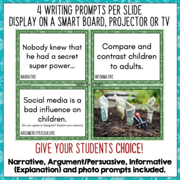 Daily Writing Prompts January/MLK Day/Winter PowerPoint Slides/Journal US