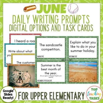 Daily Writing Prompts June - PowerPoint/Journal/Worksheets USA