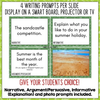 Daily Writing Prompts June PowerPoint Journal Worksheets USA