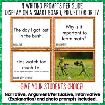 Daily Writing Prompts March/St. Patricks Day/Earth Hour - PowerPoint/Journal US