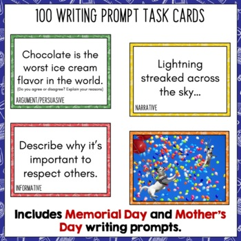 Daily Writing Prompts May - PowerPoint/Journal/Worksheets USA