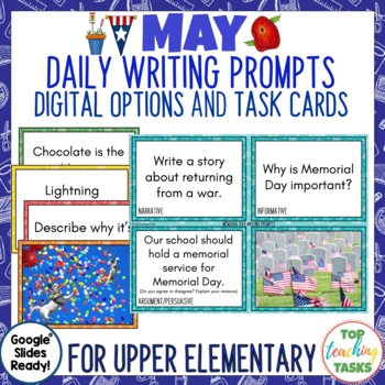 Daily Writing Prompts May PowerPoint Journal Worksheets USA