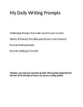 Daily Writing Prompts Middle School