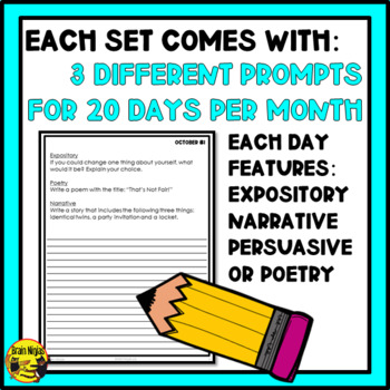 Daily Writing Prompts Month by Month-Whole Year Bundle