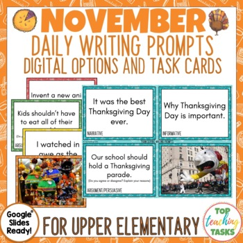 Daily Writing Prompts for November   Thanksgiving Activities