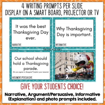 Daily Writing Prompts for November | Thanksgiving Activities