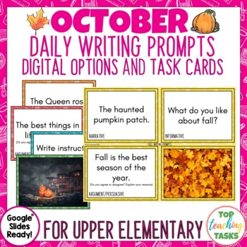 Daily Writing Prompts October PowerPoint, Journal and Worksheets US