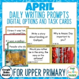 Daily Writing Prompts April PowerPoint, Journal and Worksheet Anzac Day