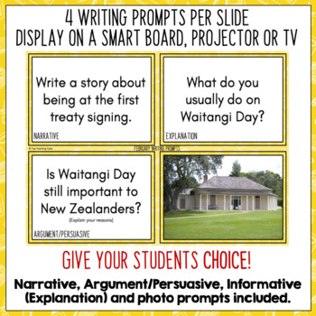 Daily Writing Prompts February NZ - PowerPoint, Journal and Worksheet