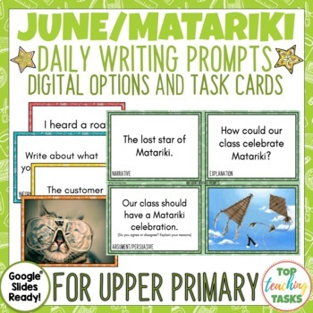 Daily Writing Prompts June NZ PowerPoint, Journal and Worksheet