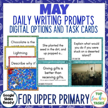 Daily Writing Prompts May NZ - PowerPoint, Journal and Worksheet