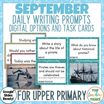 Daily Writing Prompts September PowerPoint, Journal, Worksheets NZ
