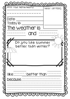 Daily Writing Prompts for First Grade