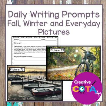 Daily Writing Prompts with Fall, Winter and Everyday pictures