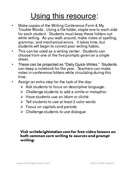 Daily Writing Task Cards Centers w/ brainstorming ideas 180 Prompts!