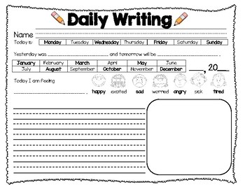 daily writing worksheet by vanessa gruner teachers pay teachers. Black Bedroom Furniture Sets. Home Design Ideas