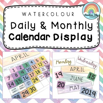 Daily and Monthly Calendar Display { Watercolor Theme }
