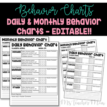 Daily and Monthly EDITABLE Behavior Communication Charts