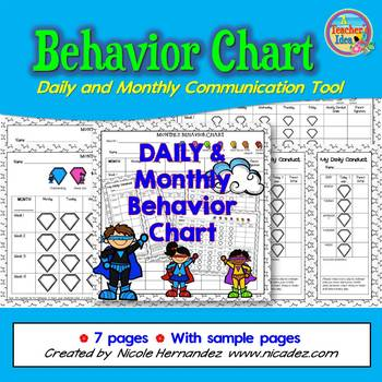 Daily and Monthly Student Behavior Chart Communication Tool
