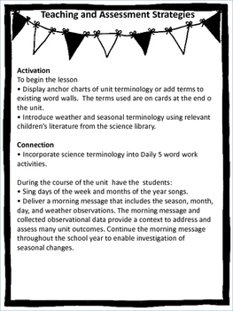 Science - Daily and Seasonal Changes Unit Plan for Saskatchewan Curriculum