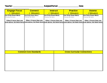 Daily and Weekly Classroom Instructional Framework (Lesson Planner