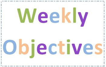 Daily and Weekly Goals, Objectives, Lessons labels