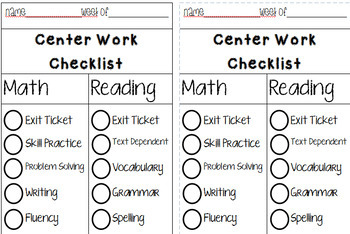 Daily and Weekly Student Accountability Checklist for Reading and Math