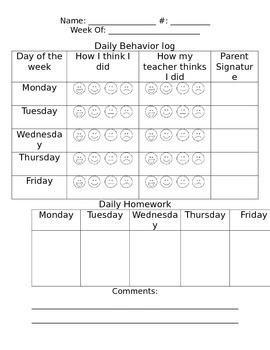 Daily behavior and homework log