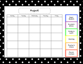 Daily behavior calendar