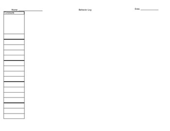 Daily behavior data sheet