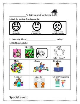 Daily communication logs: self report for school to home