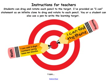 Daily learning target SMART board notebook page