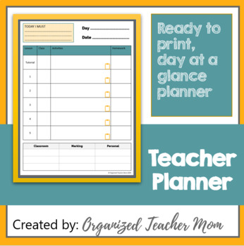 Daily lesson planner and organizer - editable